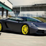 Black Car with Yellow Rims